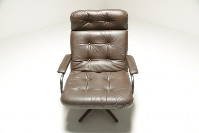 Vintage Brown Leather & Chrome Swivel Chair