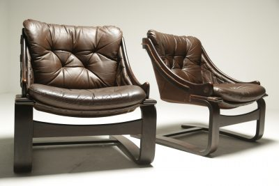 Pair of Leather Cantilever Lounge Chairs