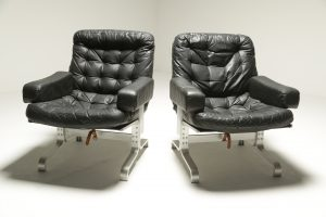 Vintage Black Leather & Chrome Frame Chairs fabricius style