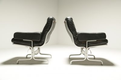 Vintage Black Leather & Chrome Frame Chairs