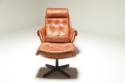 Leather Lounge Chair & Ottoman by Gote Mobler the vintage furniture warehouse Ireland