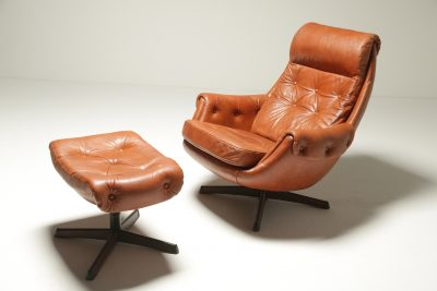 Leather Lounge Chair & Ottoman by Gote Mobler