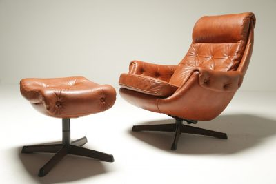 Leather Lounge Chair & Ottoman by Gote Mobler vintage furniture Dublin Ireland