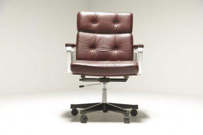 Karl Erik Ekselius Burgundy Leather Desk Chair mid-century office chair