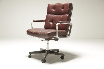 Karl Erik Ekselius Burgundy Leather Desk Chair vintage office chair