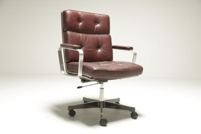 Karl Erik Ekselius Burgundy Leather Desk Chair