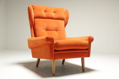 Sven Skipper Wingback Chair in Orange Velvet vintage upholstery
