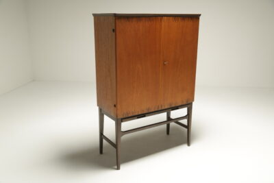 Swedish Bar Cabinet with Inlay mid-century cocktail bar