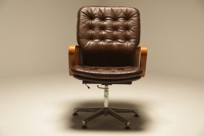 Vintage Deep Buttoned Leather Swivel Chair retro swivel chair Dublin Ireland