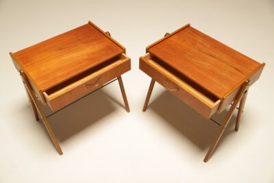 Pair of Swedish Teak Bedside Tables by AB Carlstrom