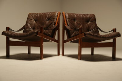 Leather Hunter Chairs by Torbjorn Afdal for Bruksbo