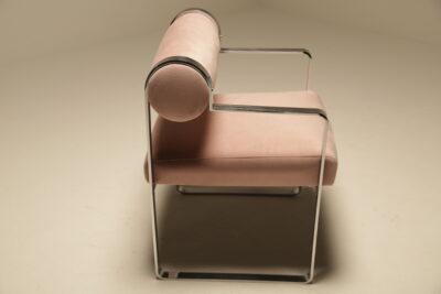 Milo Baughman Style Barrel Back Vanity Chair