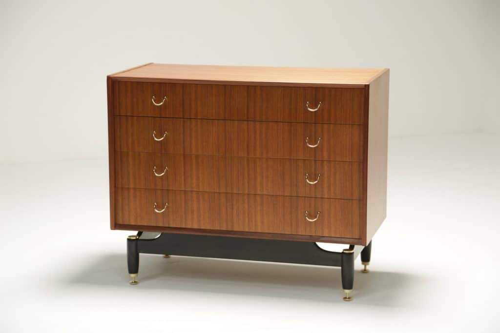 Tola Wood Chest of Drawers with Brass fittings the vintage hub