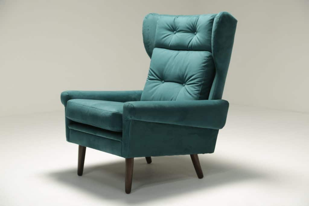 Sven Skipper Wingback Chair in Luxe Teal Velvet vintage furniture Dublin