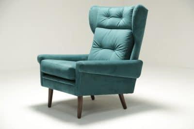Sven Skipper Wingback Chair in Luxe Teal Velvet