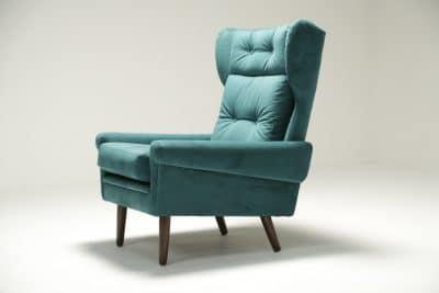 Sven Skipper Wingback Chair in Luxe Teal Velvet mid-century furniture Dublin Ireland