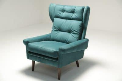 Sven Skipper Wingback Chair in Luxe Teal Velvet Danish furniture Dublin