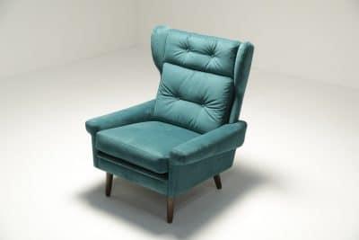 Sven Skipper Wingback Chair in Luxe Teal Velvet interior design Dublin