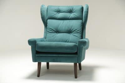 Sven Skipper Wingback Chair in Luxe Teal Velvet retro furniture Dublin Ireland