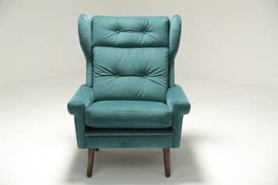 Sven Skipper Wingback Chair in Luxe Teal Velvet vintage furniture warehouse