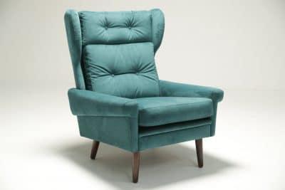 Sven Skipper Wingback Chair in Luxe Teal Velvet lounge chair mid-century modern