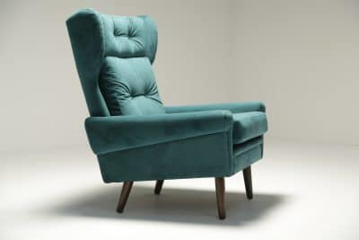 Sven Skipper Wingback Chair in Luxe Teal Velvet the vintage hub