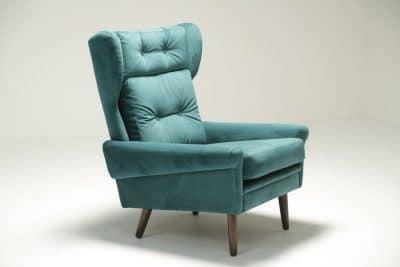 Sven Skipper Wingback Chair in Luxe Teal Velvet Danish design furniture