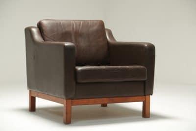 Danish Brown Leather Club Chair vintage danish furniture