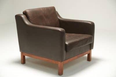 Danish Brown Leather Club Chair
