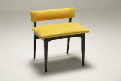 Ebonised Vanity Stool in Yellow Alcantara vintage furniture dublin