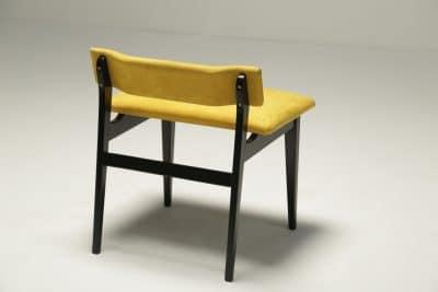 Ebonised Vanity Stool in Yellow Alcantara midcentury furniture