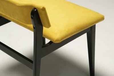 Ebonised Vanity Stool in Yellow Alcantara