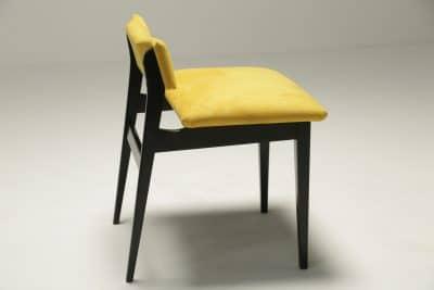 Ebonised Vanity Stool in Yellow Alcantara retro furniture Dublin