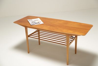 Teak Coffee Table with Magazine Rack vintage coffee table for sale