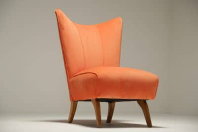 Vintage Slipper Chair in Peach Velvet