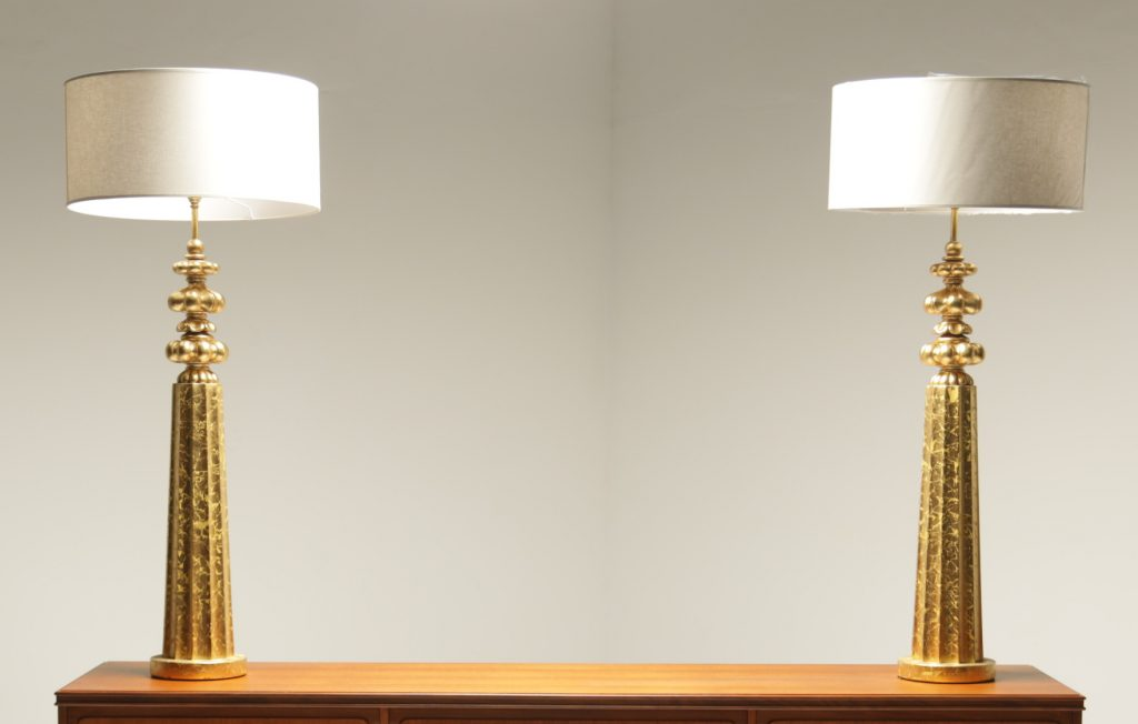 Monumental Gilt Decorator Lamps the vintage hub