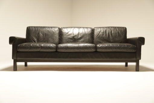 Danish Black Leather 3 Seat Sofa vintage leather sofa Dublin Ireland
