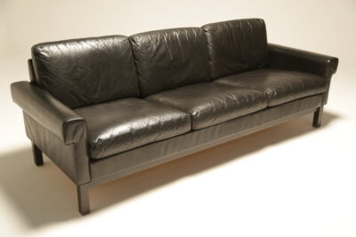 Danish Black Leather 3 Seat Sofa