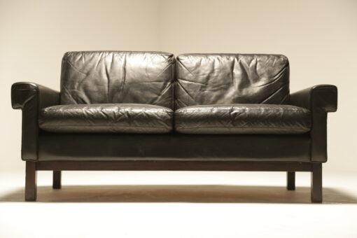 Danish Black Leather 2 Seat Sofa the vintage hub