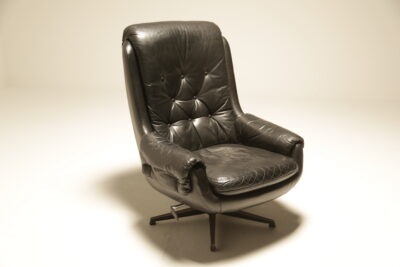 Danish Black Leather Swivel Chair