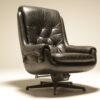 Danish Black Leather Swivel Chair the vintage hub