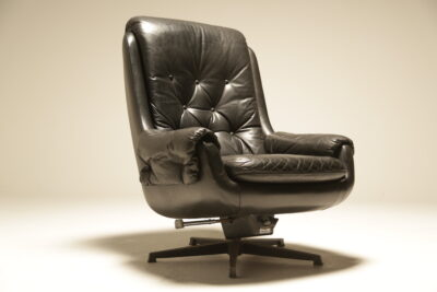 Danish Black Leather Swivel Chair the vintage hub