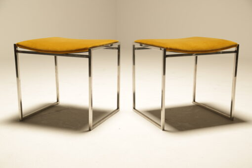 Willy Rizzo Chrome & Velvet Stools mid-century chrome stools