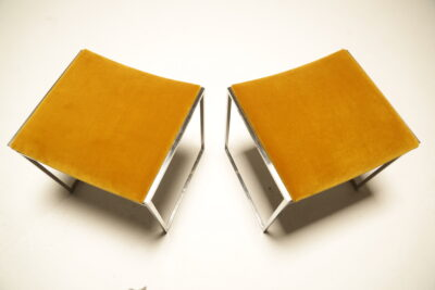 Pair of Willy Rizzo Chrome & Velvet Stools