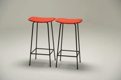Pair of Program Stools by Frank Guille for Kandya retro bar stools