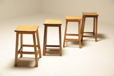 Vintage Industrial Pine Lab Stools vintage cafe stools