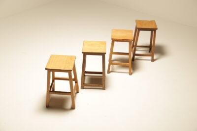 Vintage Industrial Pine Lab Stools vintage retro bar stools