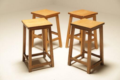 Vintage Industrial Pine Lab Stools