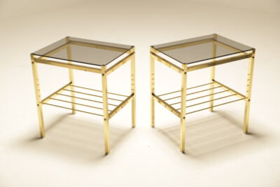 Hollywood Regency Brass & Glass Bedside Tables mid-century nightstands