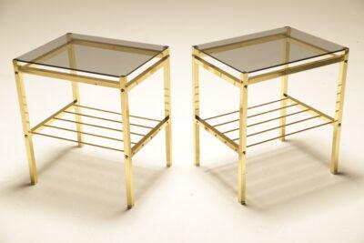 Hollywood Regency Brass & Glass Bedside Tables the vintage hub